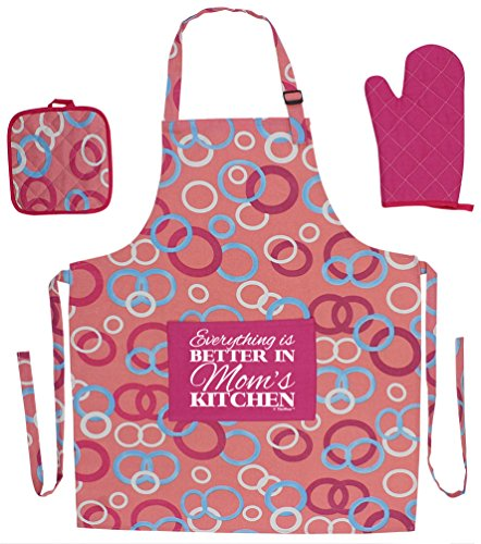 Kitchen Gifts for Mom Everything is Better in Mom's Kitchen Funny Aprons 3-piece Cooking Apron Set with Oven Mitt and Pot Holder Funny Apron Pink Circle