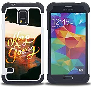 /Skull Market/ - Keep going For Samsung Galaxy S5 I9600 G9009 G9008V - 3in1 h????brido prueba de choques de impacto resistente goma Combo pesada cubierta de la caja protec -