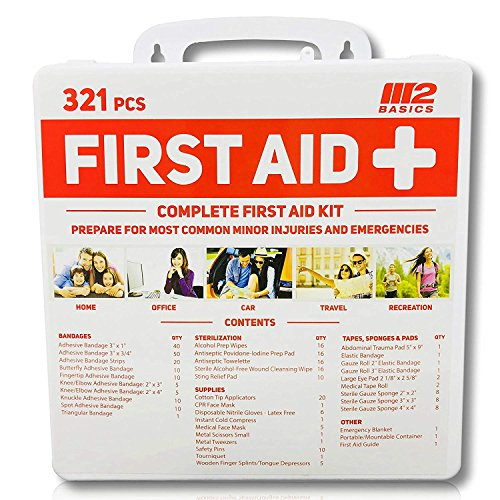 M2 BASICS 321 Piece Premium First Aid Kit w/Hard Case | Free First Aid Guide | Emergency Medical Supply | Home, Office, Outdoors, Car, Camping, Travel, Survival, - Wall Supply Sports