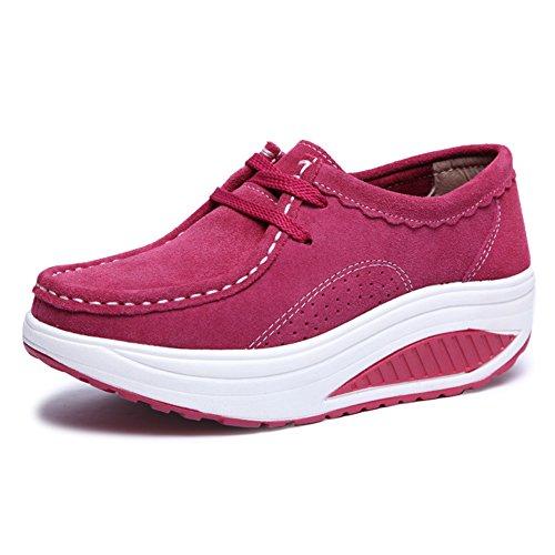 Sport Chaussures Baskets Cuir Tennis Plateforme Mocassins Eagsouni 1rose Fitness Loafers Compensé Rouge Marche Bateau Femmes Sneakers Chaussons nOUqnXwT