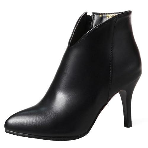 Coolcept Mujer Elegante de Tacon Aguja Botas Cortas Vestidos Zapatos Sobre Tobillo (32 As,