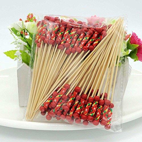 kangkang @ 100Pcs desechables de bambú Set de snack cóctel Tenedor de postre fruta Casa del Partido Hogar Decoración Estilo Artístico Tableware