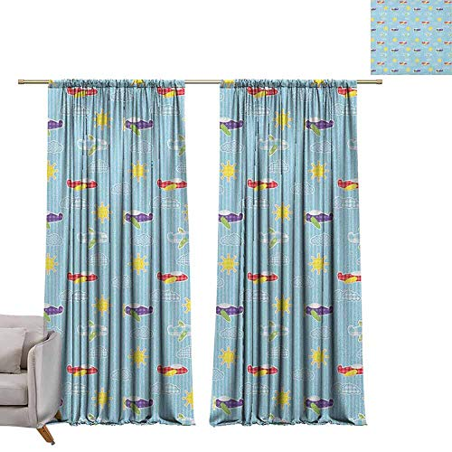 - berrly Blackout Curtain Panels Airplane,Patchwork Style Baby Boy Kids Pattern Transportation Travel Icons on Blue Strips, Multicolor W96 x L96 Art Grommet Window Drapes