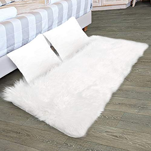 Faux Fur Rug & 2 Faux Fur Pillow Cases for Bedroom, Living Room, Daughters Room (2 Feet x 4 Feet) - Fur Rugs for Living Room and Fur Rugs for Bedroom - Faux Fur Throw Rug for Couch - Shag & Fluffy Rug (Small Fur Rug Faux)