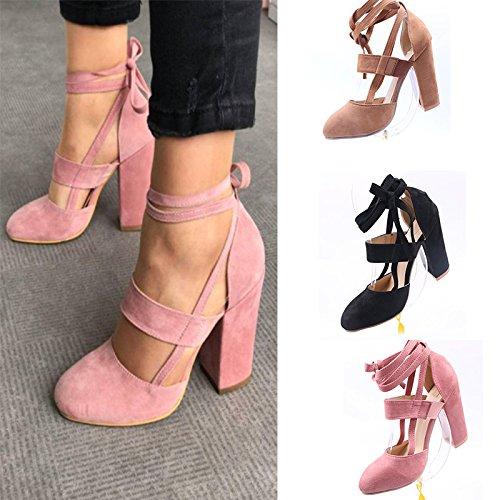 Donyyyy Sandalias de tacón alto talón de encaje de zapatos de mujer Thirty-eight