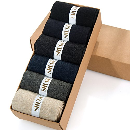 Mens 98% Cotton Rich Slight Thin Dress Socks for Business Office,and Every Day Wearing, Casual Crew Socks 6Pack