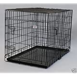 """Extra Large 48"""" Folding Pet Dog Cat Crate Cage Kennel With Plastic Tray *Black*"""