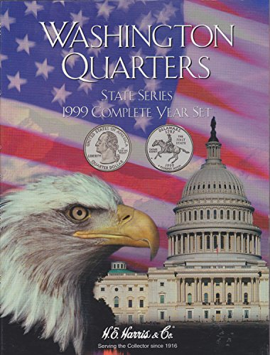 1999 COMPLETE YEAR WASHINGTON QUARTER STATE SERIES HARRIS 8HRS2748 TRIFOLD COIN; Album, Binder, Board, Book, Card, Collection, Folder, Holder, Page, Portfolio, Publication, Set, Volume