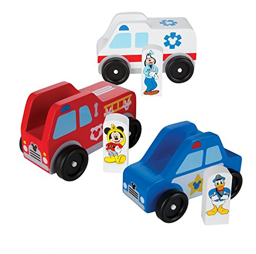 Melissa & Doug Mickey Mouse Clubhouse Wooden Rescue Vehicles Play Set With 3 Vehicles and 3 Play Figures Mickey Mouse Firefighter