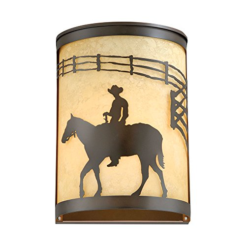 owboy Rider Western Wall Sconce - Rustic Lighting (Burnished Towel Bar)