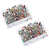 Glass Head Pins,Valar Dohaeris 500 Pieces Multicolor Weddings Corsage Dressmaker Pins Round Ball Pearl Glass Head Sewing Straight Quilting Pins with Transparent Case