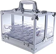 MagiDeal 600pc Transparent Empty Acrylic Carrier Poker Chips Storage Box Case with 6 Racks