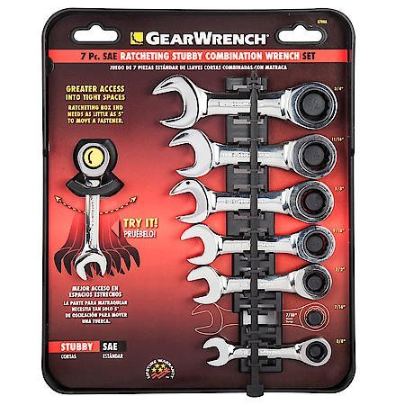 (Gearwrench 7 Piece SAE Stubby Combination Ratcheting Wrench Set)