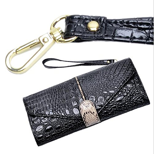 Clutch Bag Dinner Shoulder Black Women's Chain Wristlets Leather Party Wallet Crocodile Pattern Messenger BpHq6Zwx
