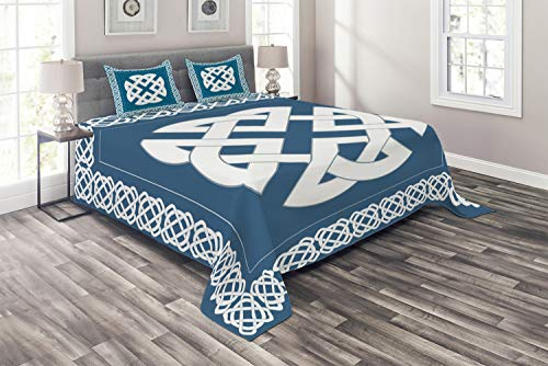 Celtic Motif Knot - Ambesonne Celtic Coverlet, Everlasting Knot Motif Representing 4 Elements Earth Fire Water and Air, 3 Piece Decorative Quilted Bedspread Set with 2 Pillow Shams, Queen Size, Petrol Blue White