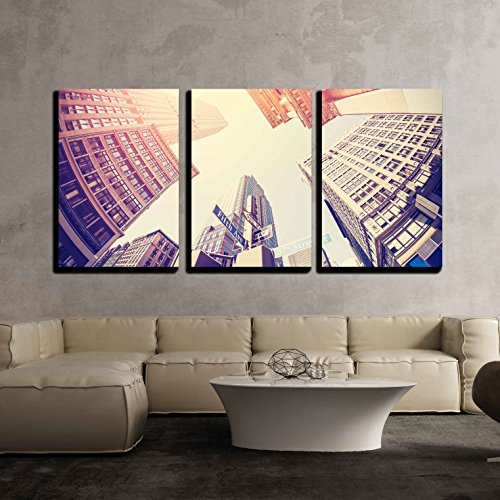 wall26 - 3 Piece Canvas Wall Art - Vintage Filtered Fisheye Picture of Manhattan, Looking Up at Sky, New York City, Usa. - Modern Home Decor Stretched and Framed Ready - Vintage Nyc Glasses