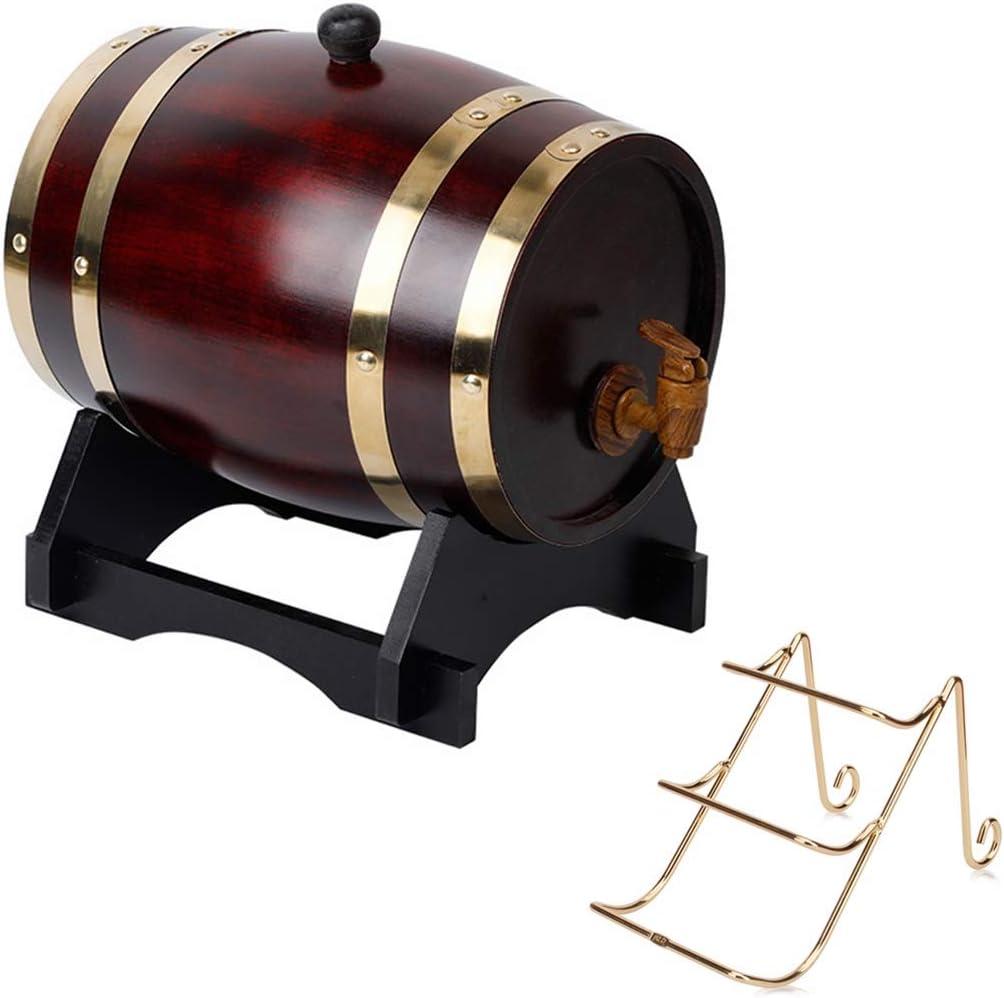 Barril de roble para whisky de 20 l, cubo decorativo de roble con grifo con soporte para vino, apto para almacenar vino, miel, cerveza, agave para vino y whisky, madera, estilo vintage, 20 L