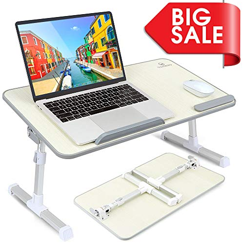 VANKYO Foldable Laptop Standing Desk, Portable Laptop Table - Height and Angle Adjustable Notebook Stand, Breakfast and Bed Tray Table, Folding Lap Holder for ()