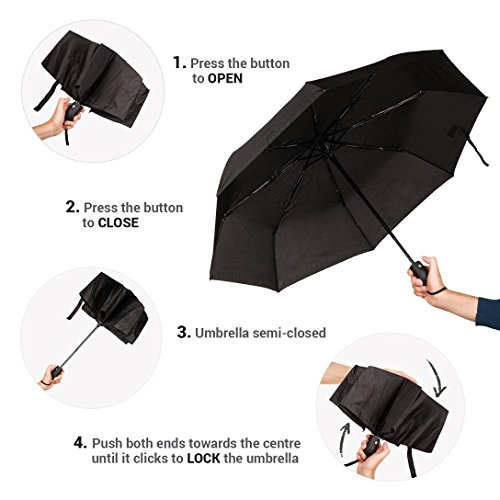 Paraguas Plegables Automático Antiviento. Paraguas Originales Mujer y Hombre Ligero Resistente y Compacto. Varillas Fibra de Vidrio Tela Reforzada 210T.