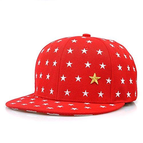 [KAFEIMALI Child Summer Hat Star Flat Brimmed Embroidered Baseball caps (Red)] (Baseball Girl Costume)