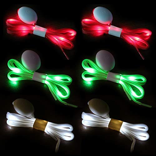 Led Light Shoelaces (Novelty Place |3 Pairs| LED Light Up Shoelaces with 3 Modes for Party, Dancing, Running & DIY - 3 Pairs (Green, Red &)