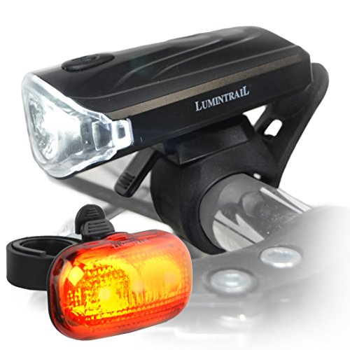 Lumintrail Bike Headlight Tail Light Weatherproof Lights Set Super Bright LED Easy Install Quick Release Batteries Included ()