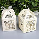 Shindel Candy Gift Boxes ,Wedding Party Favor Box , Candy Boxes, Gift Box,With Ribbon, Bird Ivory Laser Cut, 50 PCS
