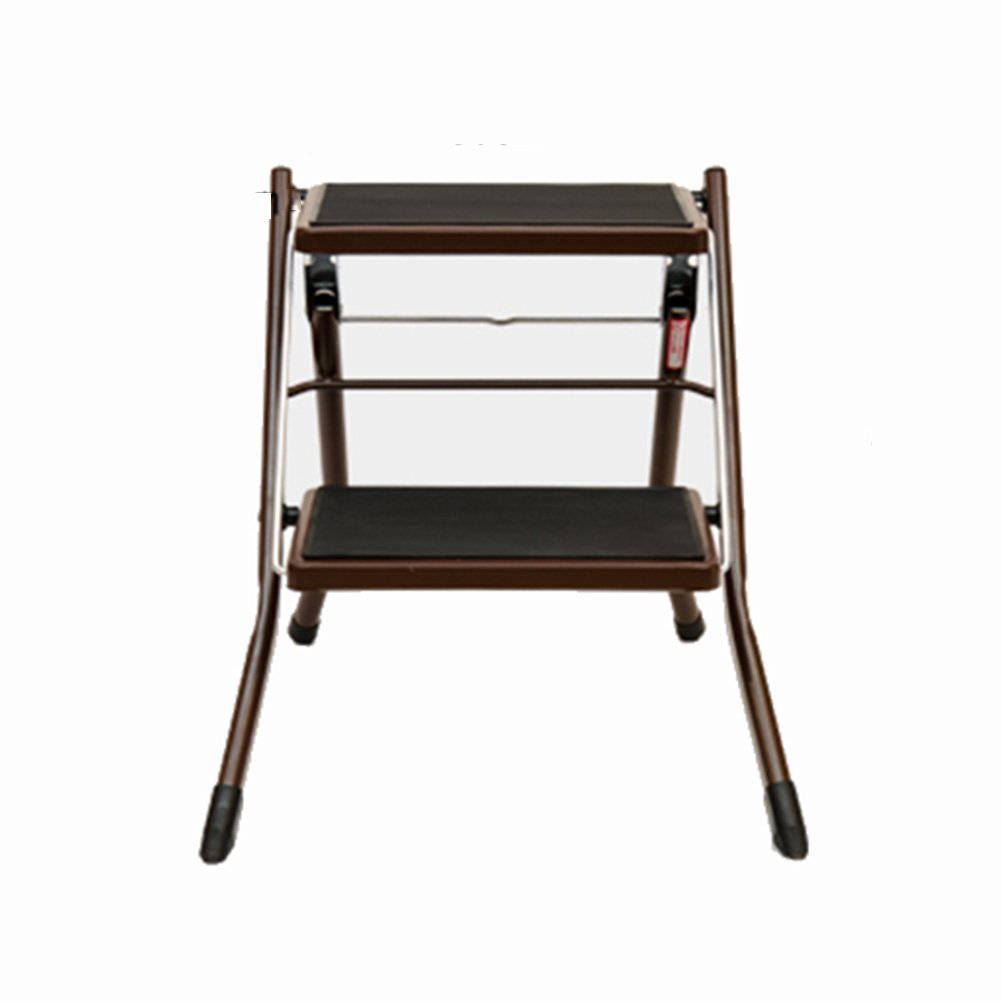 A CIGONG Step Stool Foldable Heavy Steel Step Ladder 2-Step Multi-Function Portable with Anti-Slip Mat Assembly Simple Ladder, 5 colors Step Stool (color   A)