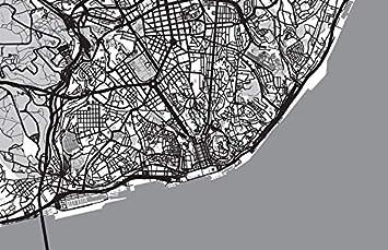 Lisbon Portugal Urban Map Art Print Black Ballpoint Pen Student Gift #8415