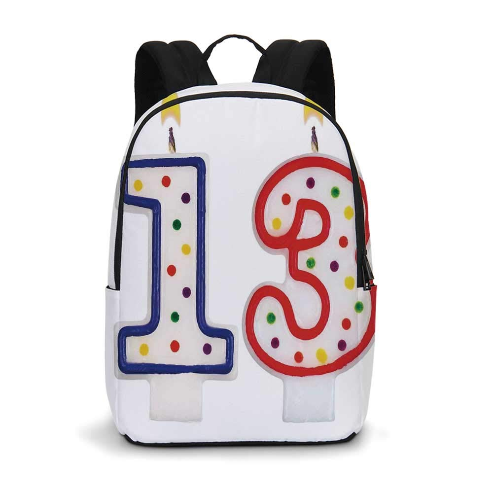 13th Birthday Decorations Modern simple Backpack,Cute Sweet Colorful Burning Candles Number Thirteen Party Objects for school,11.8''L x 5.5''W x 18.1''H