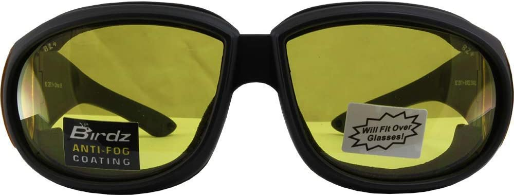 Birdz Swallow Fit Over Padded Motorcycle Safety Glasses Black Frame Clear