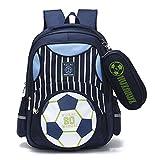 Mysticbags Boys Backpack Soccer Printed Kids School Bookbag for Primary Students Dark Blue