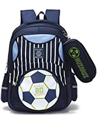 Mysticbags Boys Backpack Soccer Printed Kids School Bookbag for Primary Students