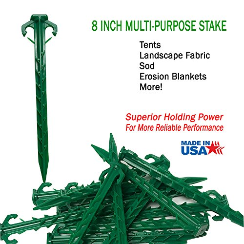 Smart Spring 8 in Tent Stake, Landscape Stake, sod Staple for Camping, Straw Blanket, Weed Barrier, Landscape Fabric (10-Pack) ()