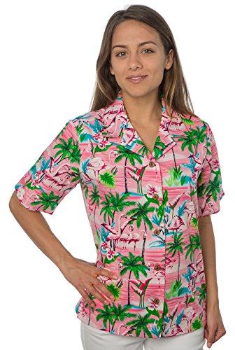 Amazon Com Benny S Womens Flamingos Hawaiian Shirt Clothing