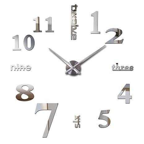 Moderno 3d reloj de pared adhesivo, Mute DIY Gran Reloj De Pared Acrílico Cristal Adhesivos
