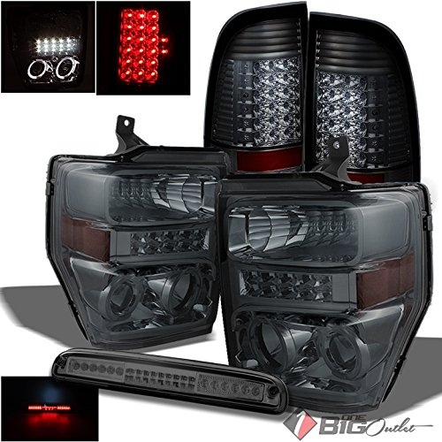 Xtune For 2008-2010 Ford F250/F350/F450 Smoked Halo Projector Headlights w/DRL + LED Tail Lights + LED 3rd Brake Lamp 2009