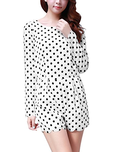 Allegra K Women Polka Dots Zip-Up Romper Long Sleeve Short Jumpsuit