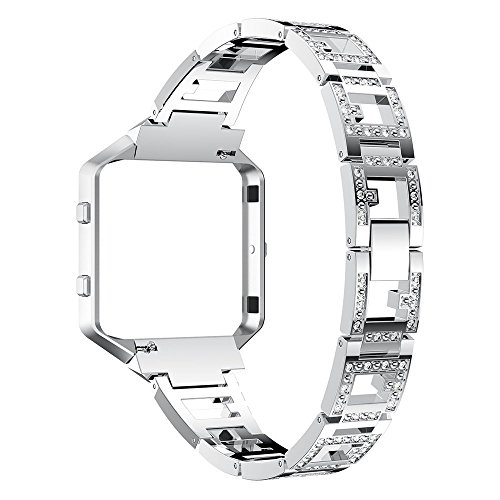 For Fitbit Blaze Accessories Band,Women Jewelry Watch Straps with Frame Adjustable Stainless Steel Bracelet Replacement With Crystal Rhinestone Wristband for Fitbit Blaze (Silver)