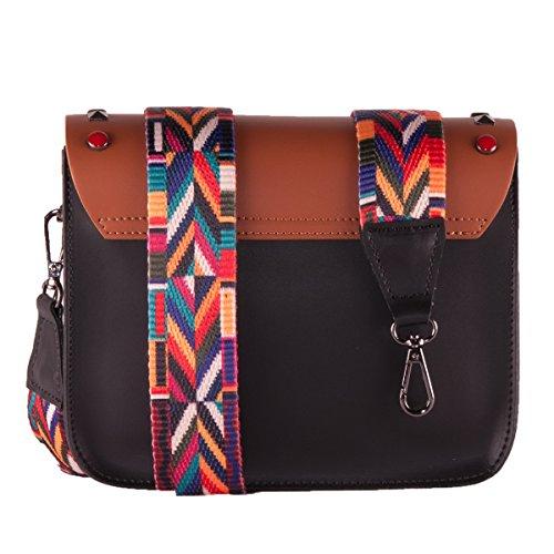 BORDERLINE - 100% Made in Italy - Mujer bolso de cuero con tachuelas y pequeña correa de hombro de colores - ARIANNA Negro / Brown
