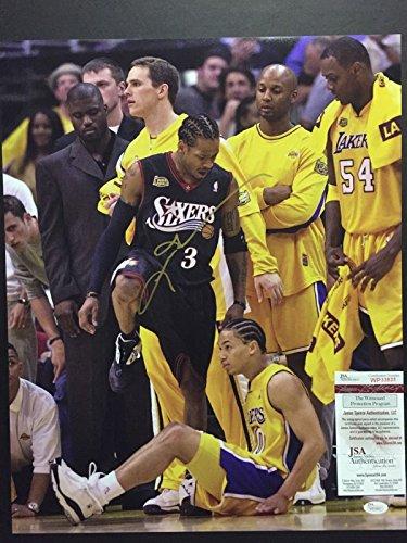 Autographed/Signed Allen Iverson Tyronn Lou Step-Over Philadelphia 76ers Sixers 16x20 Basketball Photo JSA COA ()