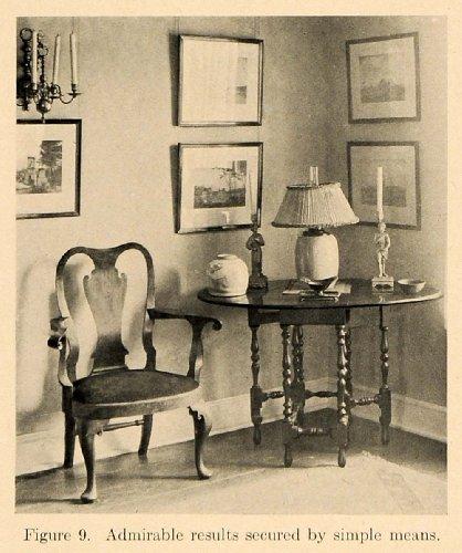1919 Print Vignette Chair Table Lamp Pictures Antique - Original Halftone Print