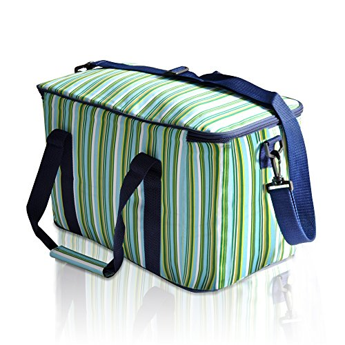 luyada-36-can-large-picnic-cooler-bag-lunch-bag-green-sapphire-stripe