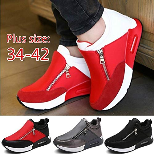 (Fashion Women Air Cushion Sports Shoes Ladies Running Hiking Shoes Thick Bottom Shoes Wedge Shoes Hiking Shoes 4 Colors (Black,EU37))