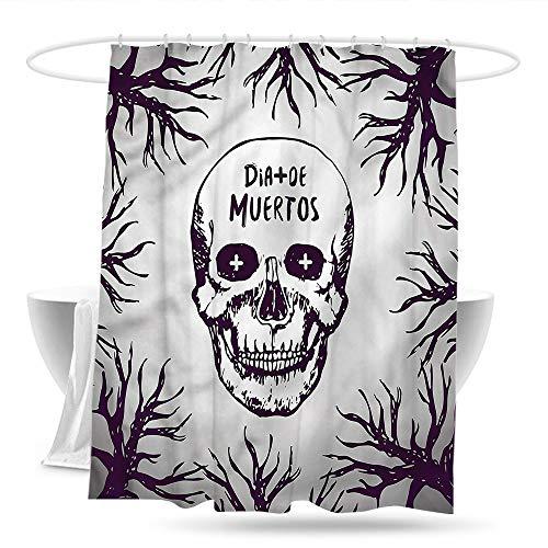 haniu Home Decor Shower Curtain Mexican Spooky Gothic Halloween Guest Bathroom W59×L70]()