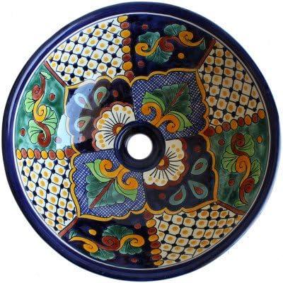 Fine Crafts Imports Janitzio Round Ceramic Talavera Vessel Sink