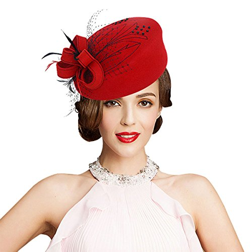 Embroidered Women Veil Formal Cocktail Race Felt Wool Pill Box Hat A140 (Red)
