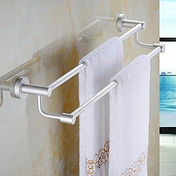MOMO Espacio Aluminio baño Estante Pliegue Actividades multifunción Toalla estantería estantería WC,Doble Barra Alta y Baja 60cm: Amazon.es: Hogar