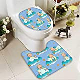 SOCOMIMI U-Shaped Toilet Mat Baptism Sitting Sleeping Crawling Smiling Babies On Clouds Catholic Children Party Washable Non-Slip