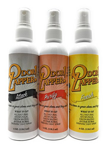 Odor Zapper Disinfectant Spray - For use in Shoes, Gym Bags, Yoga Mats, Kid's Cars and More! ''Gentle Pack'' 3 Pack, 4oz bottles by Odor Zapper - ''OZ!''